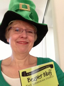 Judy_St.Patrick's hat plus Beaver Bluff book
